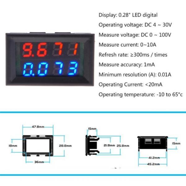 Цифровой Вольтметр + Амперметр 100V 10A 4-х разрядный