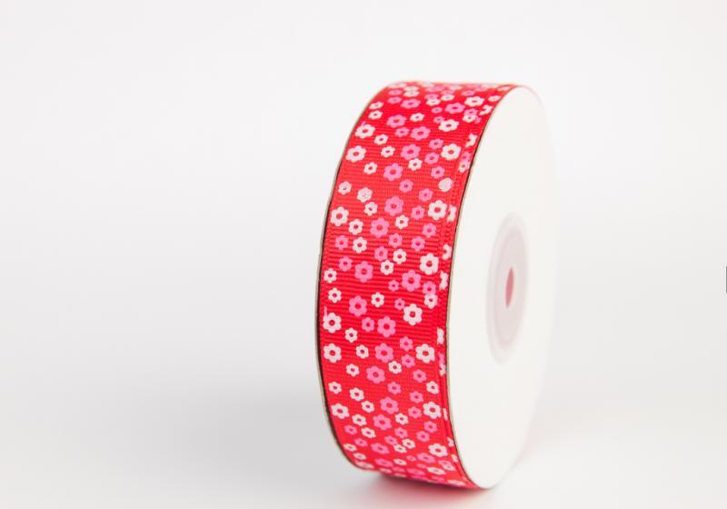 Фото Ленты, Лента репсовая с рисунком Репсовая лента 2.5см .  Красная  в  мелкий  белый  цветочек . Упаковка  ( ОСТАТОК  2м. 80 см. )