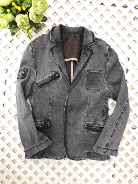 Джинсовый пиджак мальчику 6-12 лет
