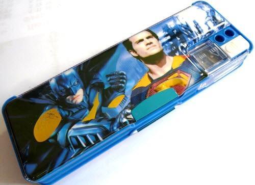 """Пенал пластиковый на магнитах с точилкой """"Бетмен, Супермен"""" - 65026B (две точилки)"""
