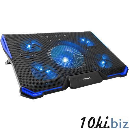 """Подставка охлажд. Crown CMLS-k331 BLUE для ноутбука до 19"""", 1 вен. 140 мм, 4 вен. 80 мм, Blue LED подсветка, black Подставки для ноутбуков в Москве"""