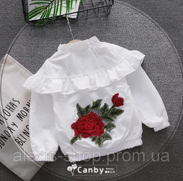 Ветровка для девочек с розой белая