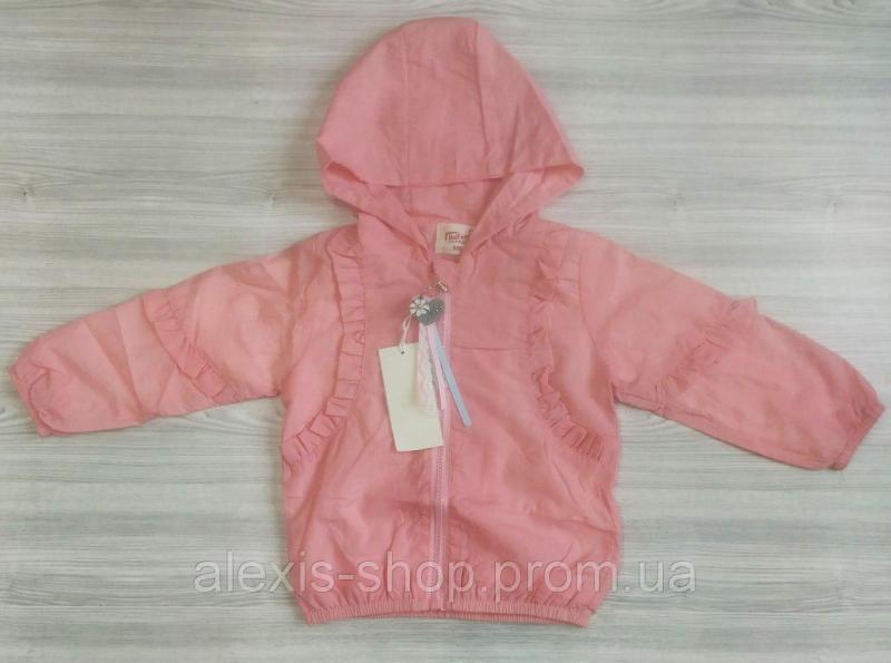Ветровка для девочек розовая с капюшоном