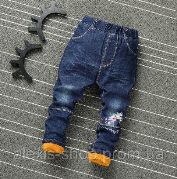 Джинсы для девочек утепленные синие 9185