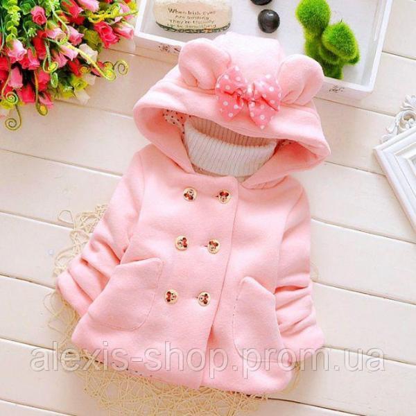 Пальто для девочек на весну с бантиком розовое