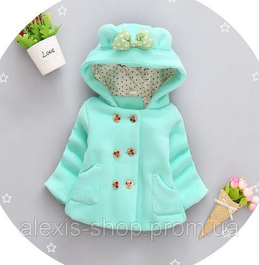 Пальто для девочек на весну с бантиком зеленое