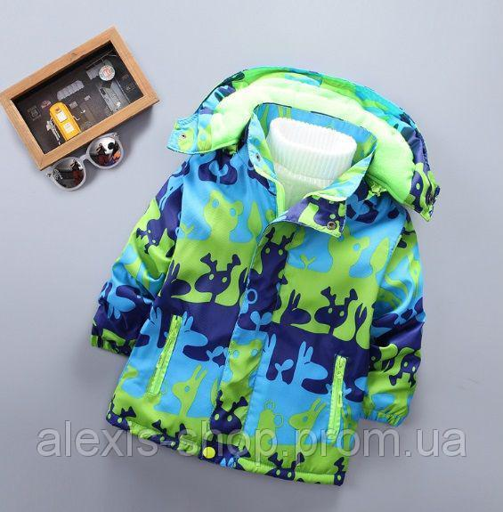 Демисезонная детская куртка на флисе зеленая с синим