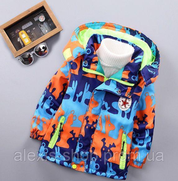 Демисезонная детская куртка на флисе сине-оранжевая