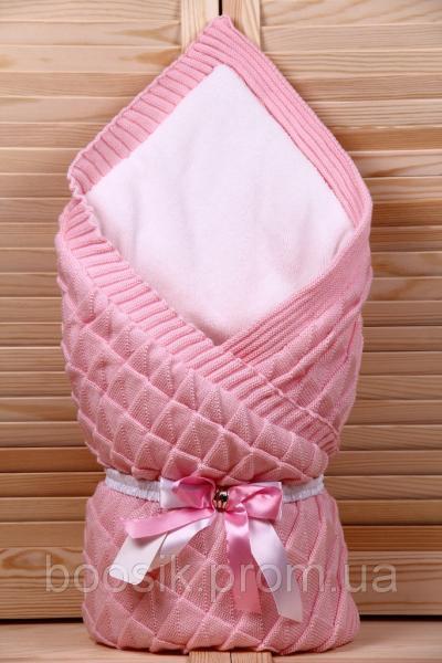 """Конверт-плед на выписку вязаный розовый """"Лапушка"""" зимний"""