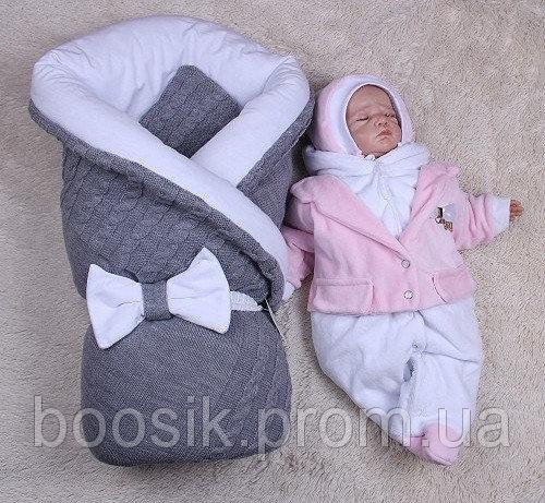 Зимний набор Глория+Little beauty (серый с розовым) 3 предмета
