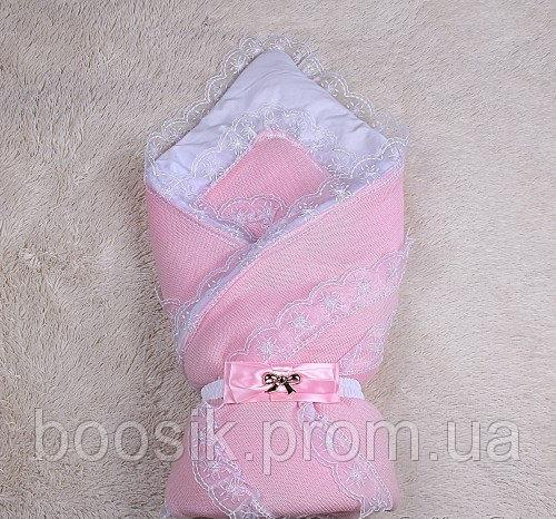 """Зимний конверт для новорожденных """"Шарлота"""" (розовый)"""