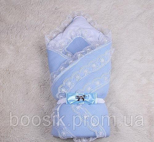 """Зимний конверт для новорожденных """"Шарлота"""" (голубой)"""