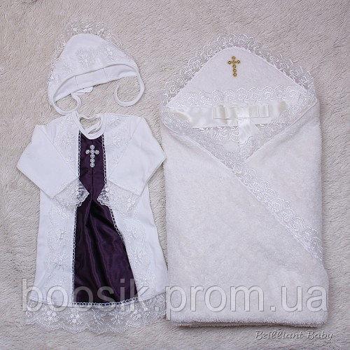 """Крестильный комплект полотенце и рубашка """"Бантик"""" (фиолет)"""