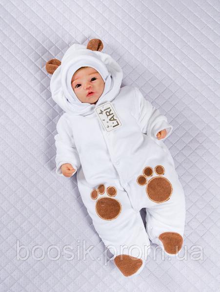 """Детский комбинезон с шапкой """"Панда"""" белый р.56"""