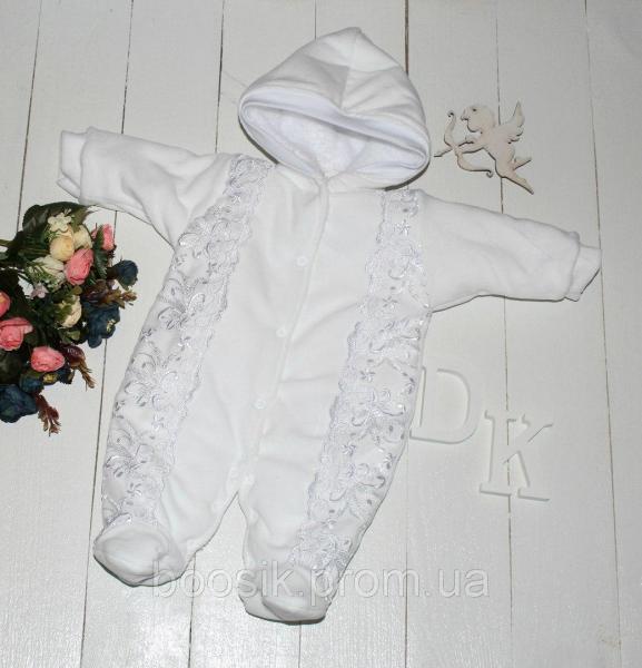 """Детский комбинезон для новорожденных """"Аля"""" белый р.56"""