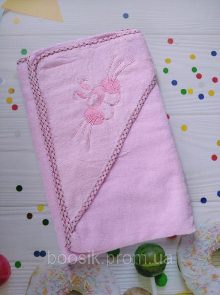 """Полотенце-уголок для купания """"Котик"""" розовый"""