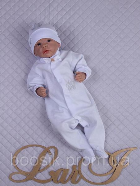 Комбинезон с шапочкой в подарочной коробке для мальчика р.56 (белый,кремовый) р.56 (белый,кремовый) белый