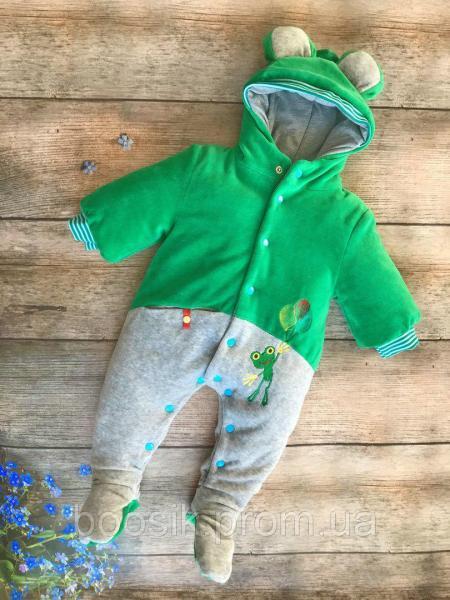 Демисезонный комбинезон-человечек зеленый р.62-74 62