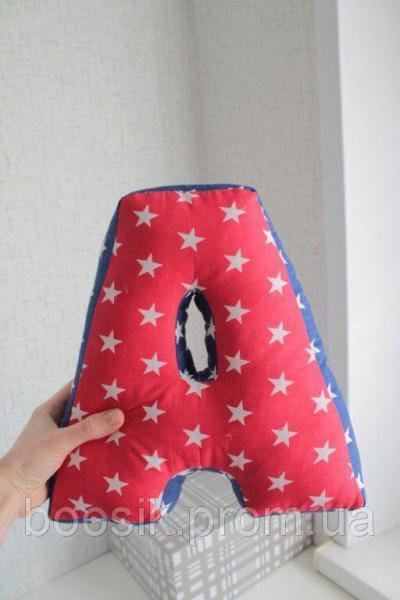 Буквы-подушки с именем красно-синие звезды