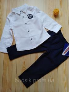 Костюм для мальчика размер 2-4 года (белый/синий) 4