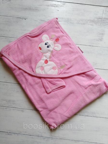"""Полотенце-уголок для купания """"Жирафик"""" розовый"""