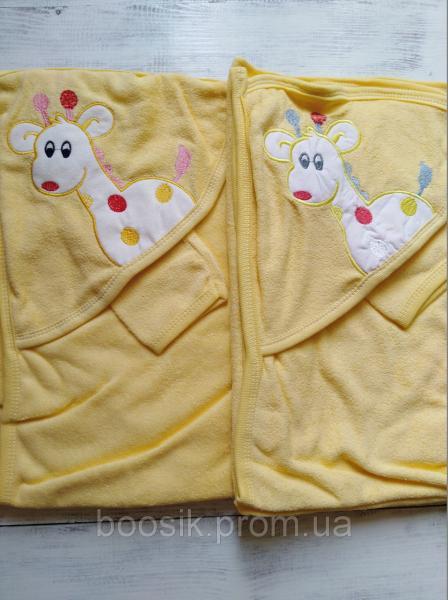 """Полотенце-уголок для купания """"Жирафик"""" желтый"""