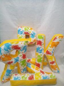 Буквы-подушки с именем слоники