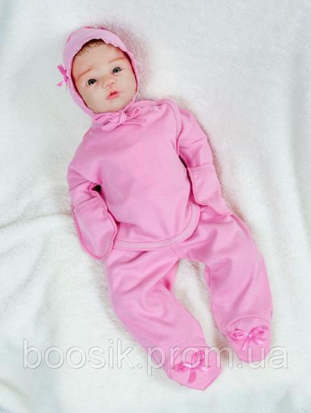 """Комплект """"Бусинка"""" для новорожденных розовый с начесом р.56"""