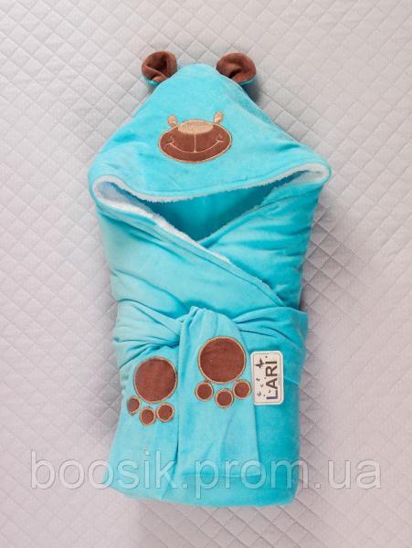 """Конверт-одеяло """"Панда"""" ТМ """"Lari"""" голубой"""