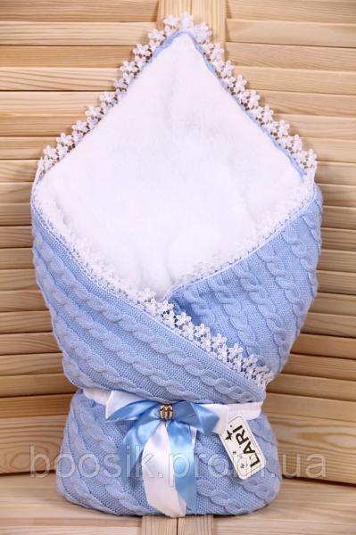 """Конверт-плед на выписку вязаный голубой """"Змейка"""" осень-зима"""
