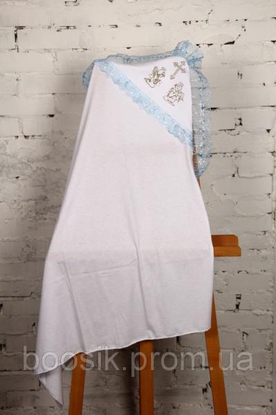 Крестильная пеленка с уголком голубая ТМ Lari