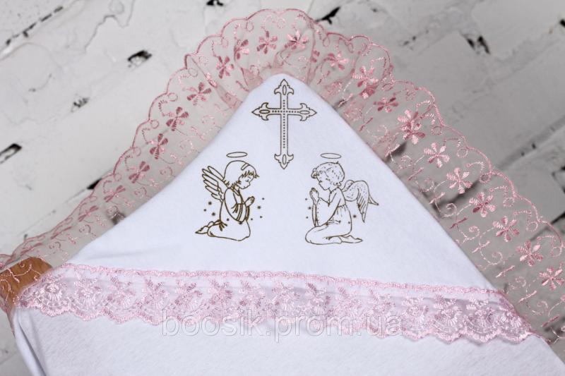 Крестильная пеленка с уголком розовая ТМ Lari