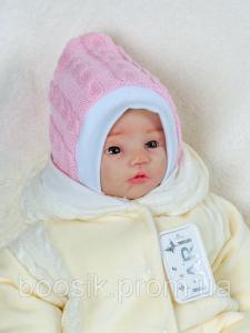 Шапочка с завязками вязаная для новорожденных розовая