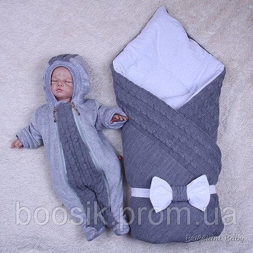 Зимний набор Глория+комбинезон Weave (серый) 3 предмета 74