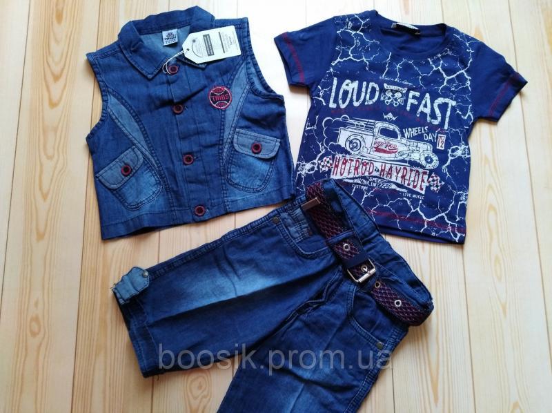 Костюм-тройка джинсовый размер 1,2 года 86