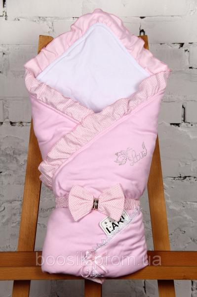 """Демисезонный конверт-одеяло """"Улыбка"""" розовый ТМ Lari"""