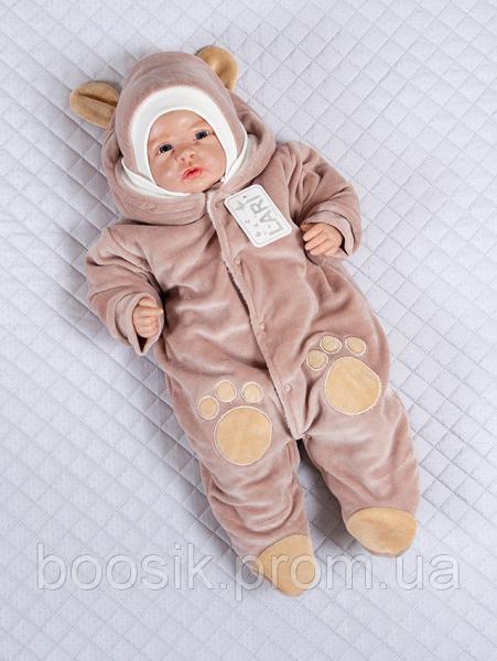 """Детский комбинезон для новорожденных """"Панда"""" молочный шоколад р.56"""