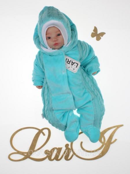 Детский комбинезон с шапочкой для новорожденных бирюзовый р.56