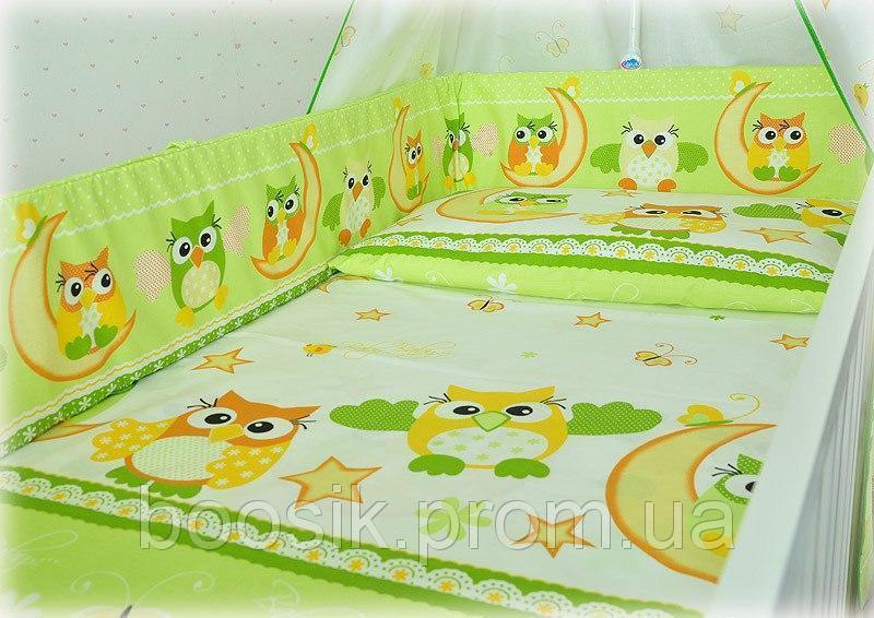 """Детский постельный комплект 6 в 1 без балдахина """"Совы"""""""
