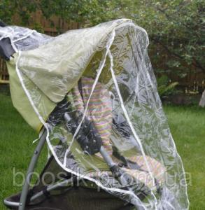 Универсальный дождевик на коляску на завязках