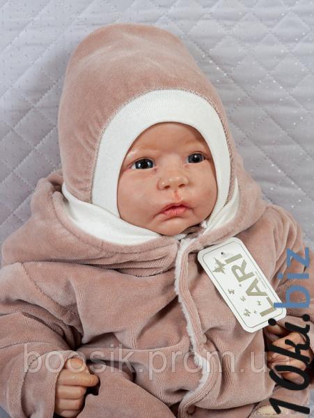 Шапочка велюровая с завязками коричневая Головные уборы детские для девочек в Николаеве