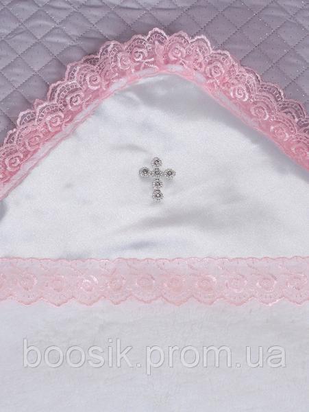 Крыжма махровая белая/розовая ТМ Lari