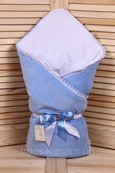 """Демисезонный велюровый конверт-одеяло """"Чудо"""" голубой ТМ Lari"""