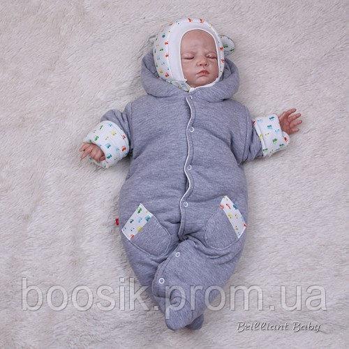 """Утепленный человечек для новорожденных """"Мася"""" для мальчиков"""
