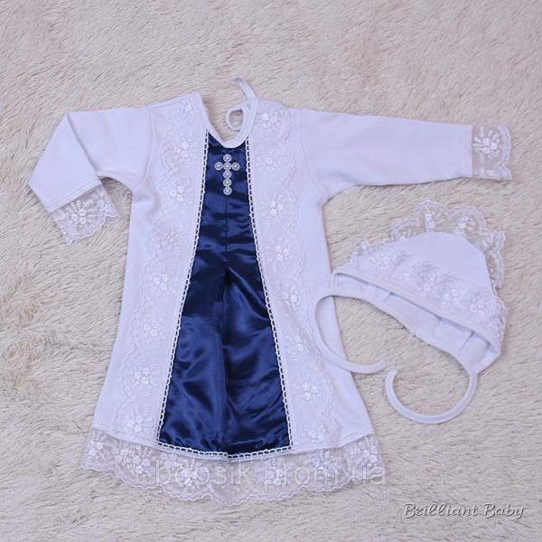 """Нарядная Крестильная рубашка """"Даниила"""" синий 62 р."""
