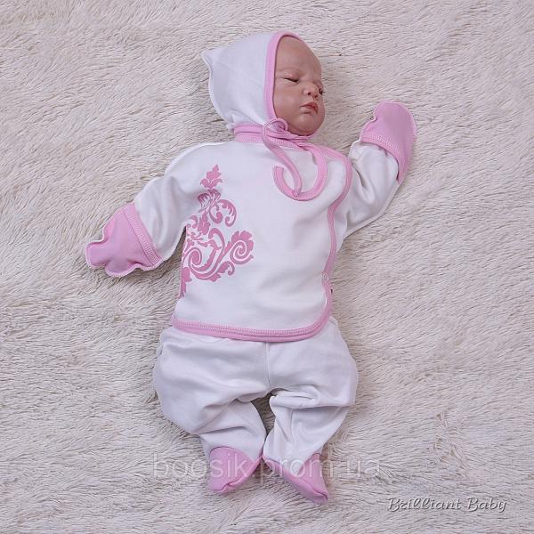 """Комплект для новорожденных розовый """"Monogram"""" р.56"""