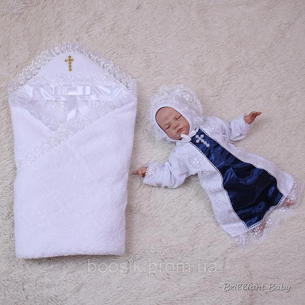 """Крестильный комплект полотенце и рубашка """"Бантик"""""""