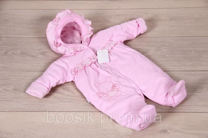 Демисезонный комбинезон для новорожденных розовый ТМ Lari