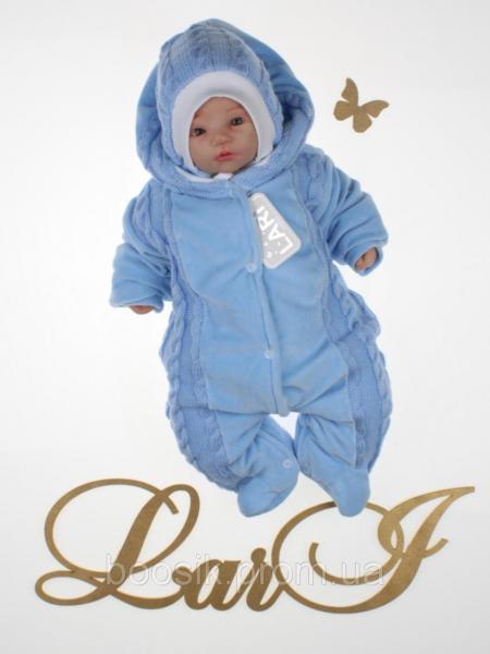 Детский комбинезон с шапочкой для новорожденных голубой р.56
