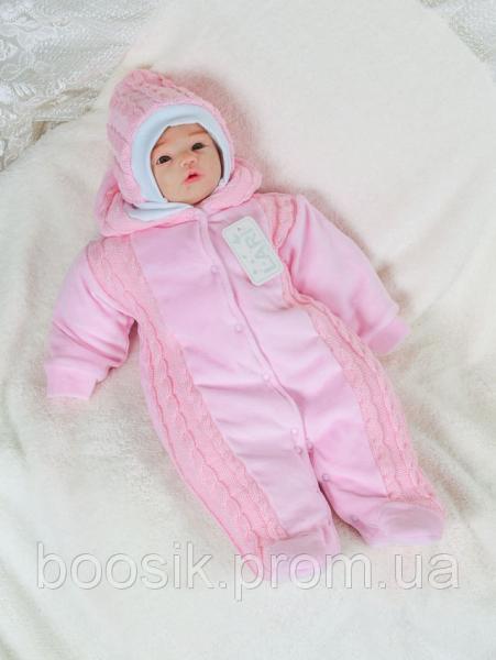 Детский комбинезон с шапочкой для новорожденных розовый р.56